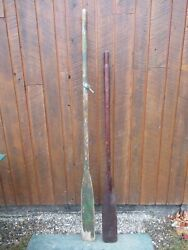 Great Old Set 2 Odd Different Oars 66 + 78 Long Boat Wooden Paddles