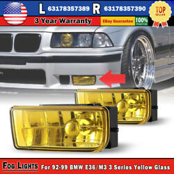 Fog Lights For 92-99 Bmw E36/m3 3 Series Yellow Glass Lens H1 55w Pair Replace