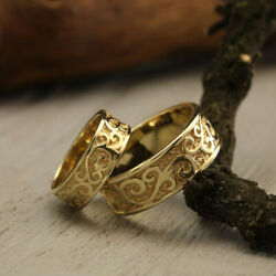 Christmas Beautiful Gift Couple Band 14k Solid Yellow Gold All Size