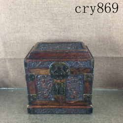 China Antique Yellow Rosewood Manual Sculpture Dragon Pattern Small Official Box