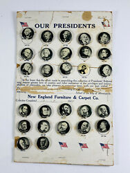 Antique 1917 New England Furniture And Carpet Presidents Celluloid Pins Set Rare