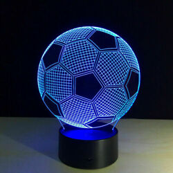 3d Led Illusion Soccer Ball Usb 7color Table Night Light Lamp Bedroom Child Gift