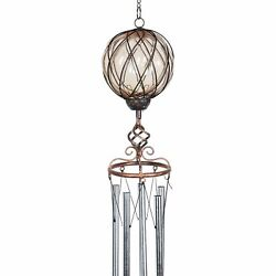 Solar Caged Amber Glass Wind Chime With Metal Finial, 6 By 45 Inches