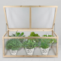 Greenhouse Mini Nursery Vented Garden Planter Plant Cover Wood Cold Frame