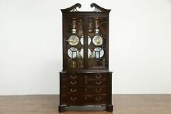Traditional Georgian Vintage Mahogany Lighted China Cabinet Mount Airy 35997