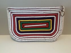 Vintage Telephone Phone Cord Purse / Clutch - Red White Blue - Multi Color Bag