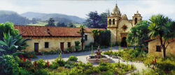 June Carey The Mission Courtyard Limited Edition Print Art Country Wine