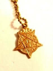 Older Fraternal Order Key Chain With 5 Pointed Star Fob With Ceremonial Emblems