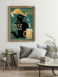 Black Cat Poster-mix Your Beer With Catz Bitters Cat Lover Gift Home Decor