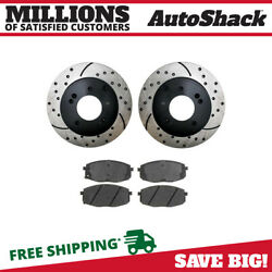 Rear Performance Drilled Slotted Brake Rotors And Ceramic Pads Kit