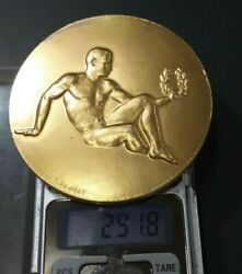 1965 Paris French Patriotic Gold Pl. Silver Medal P.couret Rugby Nude Muscular