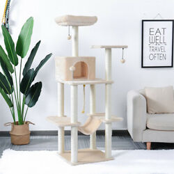 60 Inches Cat Tree Multilevel Cat Towers With Luxury Condos Scratching Post