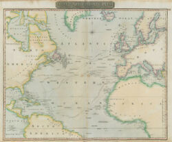 North Atlantic Ocean Showing Nelson's And Trade Routes. Thomson 1817 Old Map