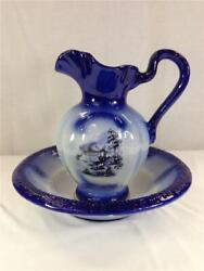 Vintage Iron Ware Blue And White Pitcher And Wash Basin Large 15 Bowl Lot 1