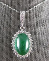 Large 8ct Diamond And Aaa Emerald 14kt White Gold 3d Oval And Round Pendant 27164