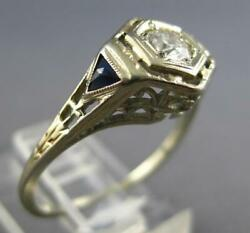 Antique Art Deco .28ct Old Mine Diamond And Aaa Sapphire 18k White Gold Ring 27192