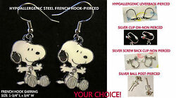 Beagle Snoopy Earrings OR Necklace *OPTIONS* Hypoallergenic OR Clip On