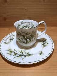 """Royal Albert """"flower Of The Month"""",tea Mug And Salad Plate,january,snowdrops,1970s"""