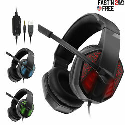 Wired Stereo Bass Surround Gaming Headset For Ps4 New Xbox One Pc With Mic Usa