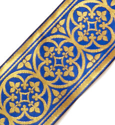 Historic 3andfrac34 Wide Cross With Leaves Gold On Blue Church Vestment Trim 3 Yards