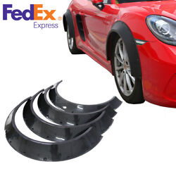 4pcs Carbon Fiber Color Car Fender Flares Extra Wide Body Wheel Arches Glossy Us