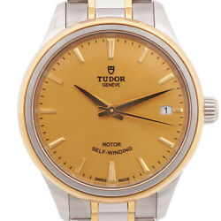 Tudor Style 12303 Automatic Gold Dial Stainless Steel Ladies Watch 34 Mm