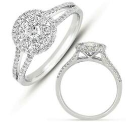 Estate .70ct Diamond 14kt White Gold 3d Classic Flower Invisible Love Ring