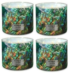 Bath And Body Works Mermaid Lagoon 3-wick Scented Candle 14.5 Oz Set Of 4