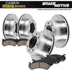 Front+rear Brake Rotors And Carbon Ceramic Pads For Chevrolet Chevy Avalanche 2500