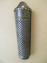 Antique Tin Nutmeg Grater, Hinged Lid, Hanger, W.germany, C.1950, 5 1/2 Tall