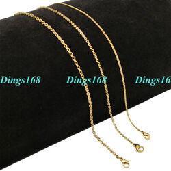 18k Yellow Gold Filled 1mm/2mm/2.4mm 16/18/20/22 24 Cable Chain Necklace L146g