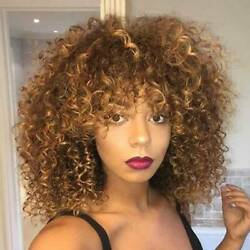 African Blonde Kinky Curly Wigs Afro Brazilian Natural Hair Wig For Black Women $20.89