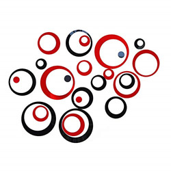 24Pcs Acrylic Circle Mirror Wall Stickers Black and Red