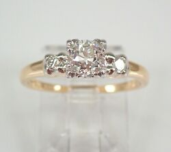 Antique Vintage Platinum And 14k Yellow Gold Old Miner Diamond Engagement Ring