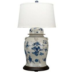 Chinese Oriental Porcelain Blue And White Garden Motif Ginger Jar Lamp 39andrdquo