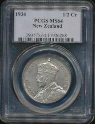 New Zealand 1934 1/2 Crown George V Silver - Pcgs Ms64 Ch-unc