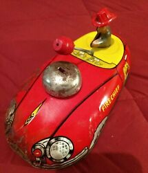 Vintage 1940s Large 9 Metal Tin Pull Toy Fire Chief Bell Car T Cohn Superior