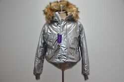 Purple Label Shearling Hooded Leather Bomber Duck Down Puffy Jacket