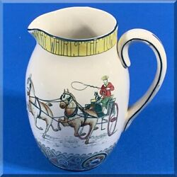 1907 Buffalo Pottery 7 Inch Pitcher Jug - The Fox Hunt - The Whirl Of The Town