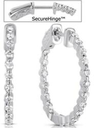 1.14ct Diamond 14kt White Gold 3d Inside Out Shared Prong Hoop Hanging Earrings