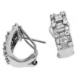 1.40ct Diamond 14k White Gold Round Baguette And Princess Clip On Hanging Earrings
