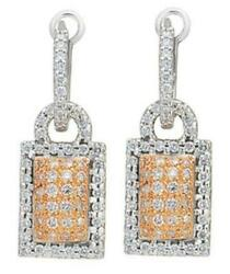 1.04ct Diamond 14kt White And Rose Gold 3d Pave Love Knot Clip On Hanging Earrings