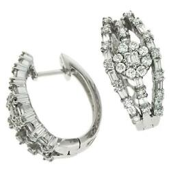 1.42ct Diamond 14k White Gold 3d Round And Baguette Flower Huggie Hanging Earrings