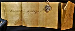 Pope Benedict Xiv Bull With Lead Seal Signed By Cardinal Francesco Carafa 1750
