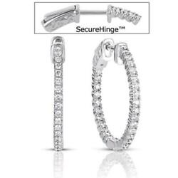 .90ct Diamond 14kt White Gold 3d Classic Round Inside Out Hoop Hanging Earrings