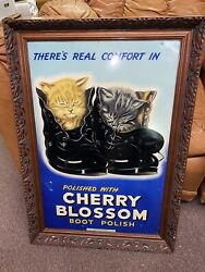 Vintage Rare Cherry Blossom Shoe Polish Advertising Sign Cat Images