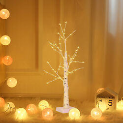 Pre lit White Birch Tree Decorative Light Tabletop for Home Holiday Party Decor