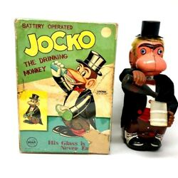 Vintage Line Mar Toys Jocko The Drinking Monkey, Battery Operated W Box