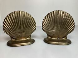 Vintage Pair Solid Brass Sea Shell Bookends