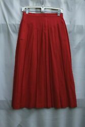 vintage panther red linen rayon pleated midi skirt pockets size 8 S W 26quot;